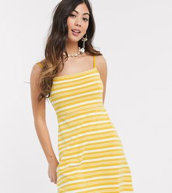 ASOS DESIGN Petite Exclusive square neck stripe mini dress in mustard-Multi