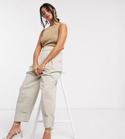 ASOS DESIGN Petite inverted pleat clean balloon leg pants with turn up-Green