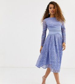 ASOS DESIGN Petite long sleeve prom dress in lace with circle trim details-Blue