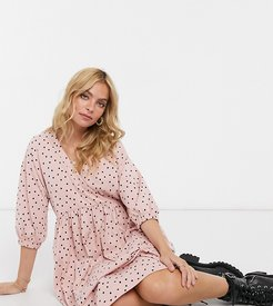 ASOS DESIGN Petite midi smock dress with wrap top in dusty pink and black polka dot
