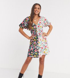 ASOS DESIGN Petite mini dress with ruching in contrast floral print-Multi