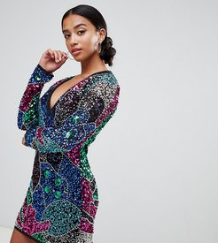 ASOS DESIGN Petite mutli patched sequin mini dress-Multi