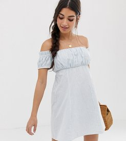 ASOS DESIGN Petite off shoulder mini sundress with ruched bust in stripe-Multi