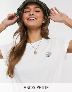 ASOS DESIGN Petite t-shirt with sketchy shell motif in organic cotton-White