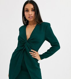 ASOS DESIGN Petite twist front mini dress-Green