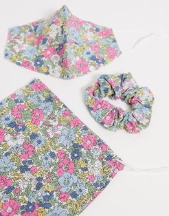 pink floral face covering with pouch & scrunchie-Multi