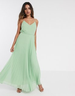 pleated cami maxi dress with drawstring waist in sage green