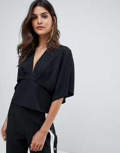 plunge top with batwing-Black