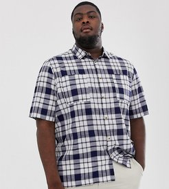 Plus boxy check shirt in blue and white