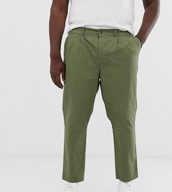 Plus cigarette chinos with pleats in khaki-Green
