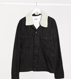 Plus denim jacket with detachable fleece collar in black