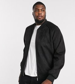 Plus faux suede bomber jacket in black