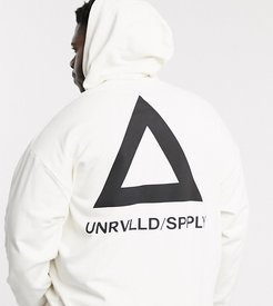Plus oversized hoodie with back triangle print in white