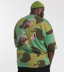 Plus oversized organic cotton t-shirt in camo print with line drawing back placement-Green