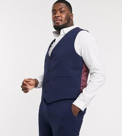 Plus super skinny suit suit vest in four way stretch in navy