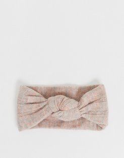 pointelle headband with front knot detail in pink