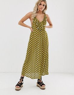polka dot frill maxi dress in slinky rib-Multi