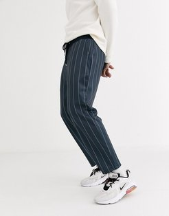poly tricot smart tapered sweatpants with pin stripe-Navy