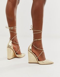 Porter high heeled wedges in pale gold