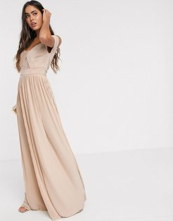 premium lace and pleat bardot maxi dress in champagne-Multi