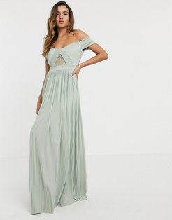 Premium lace and pleat bardot maxi dress in sage-Beige