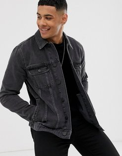 regular denim jacket in washed black