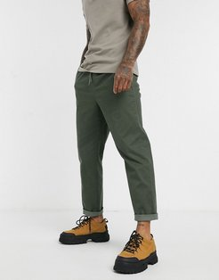 relaxed chinos with elastic waist in washed khaki-Green