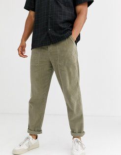 relaxed cord pants with utility pockets in washed khaki-Green