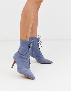 Respect lace up kitten heel boots in gray