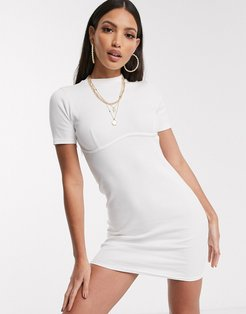 rib mini dress with exposed seam in white