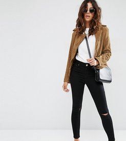 Ridley high waisted skinny jeans in clean black with ripped knees