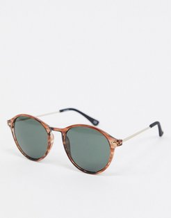 round sunglasses in brown tort with smoke lens