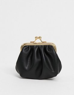 ruched clip frame purse in black