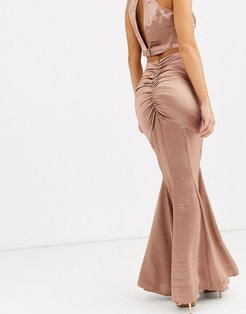 satin fishtail maxi skirt two-piece-Pink