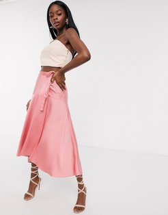 satin maxi wrap skirt with tie waist detail in dusty rose-Pink