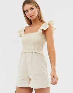 shirred romper with frill sleeve-Beige