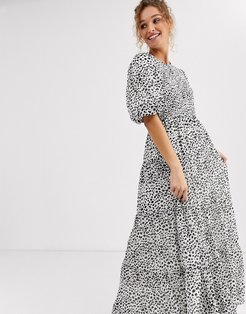 shirred tiered maxi dress in mono polka dot-Multi