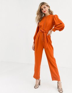 shirt jumpsuit with button front and contrast stitching-Brown