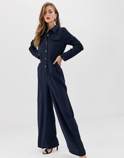 shirt jumpsuit with pocket front and stitching detail-Navy