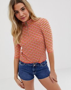 short sleeve rib knit sweater with zip detail in texture-Multi