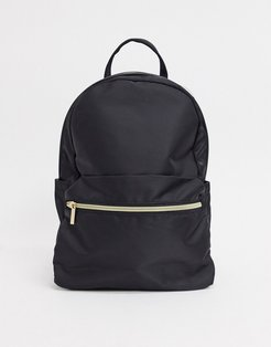 simple backpack with front pocket in black