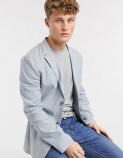 skinny casual linen blazer in light blue stripe