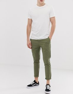 skinny cropped chinos in light khaki-Green