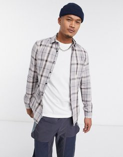 skinny fit check shirt in gray