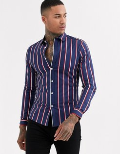 skinny fit stretch shirt in navy white stripe