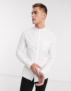 skinny oxford shirt with grandad collar in white