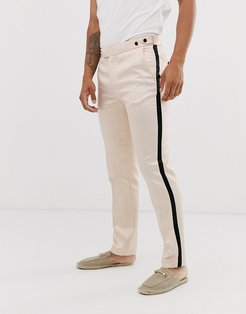 skinny tuxedo prom suit pants in black with champagne side stripe-Cream
