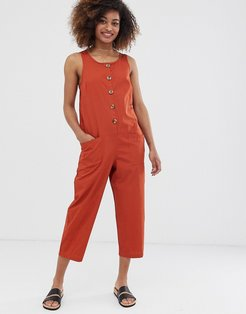 sleeveless button front boilersuit-Brown
