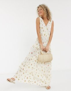 sleeveless tiered crinkle maxi dress with lace inserts in floral print-Multi