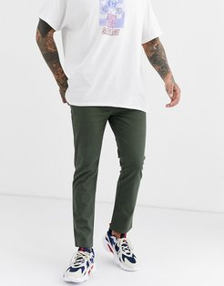 slim ankle grazer chinos in washed khaki-Green
